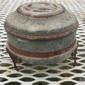 Antique Small Art Deco Metal Trinket Dish with Lid